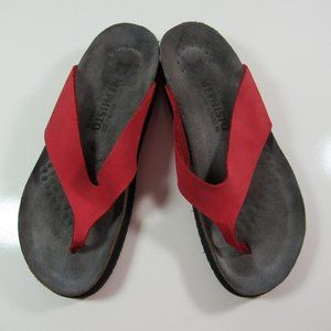 Mephisto Comfy Cork Sandals Thong Slippers Red